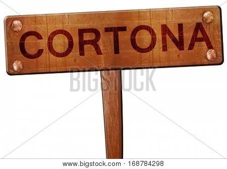 Cortona road sign, 3D rendering