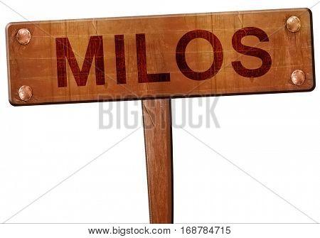 Milos road sign, 3D rendering