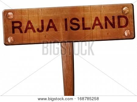 Raja island road sign, 3D rendering