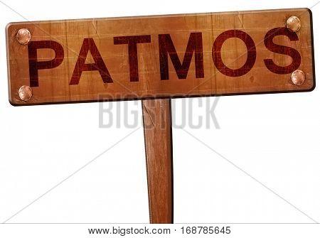 Patmos road sign, 3D rendering