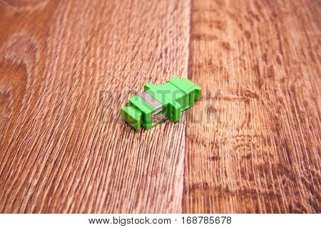 Fiber optical network connector with optical distribution frame isolated on vintage background