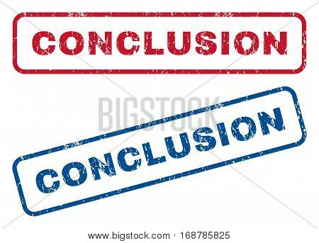 Conclusion text rubber seal stamp watermarks. Vector style is blue and red ink tag inside rounded rectangular shape. Grunge design and scratched texture. Blue and red emblems.