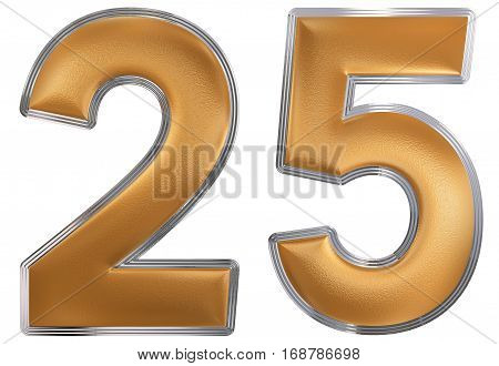 Numeral 25, Twenty Five, Isolated On White Background, 3D Render