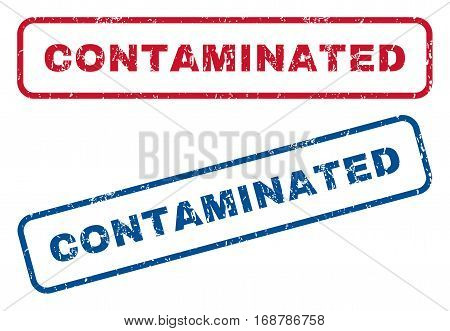 Contaminated text rubber seal stamp watermarks. Vector style is blue and red ink tag inside rounded rectangular shape. Grunge design and dust texture. Blue and red stickers.