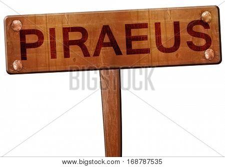 Piraeus road sign, 3D rendering