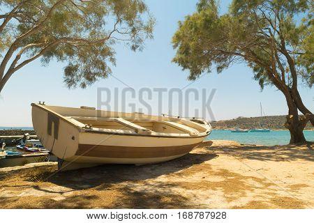 Fishing boat at Alyki beach at Paros island in Greece.