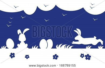 Happy Easter day. Silhouette Easter bunny and eggs. Vector illustration