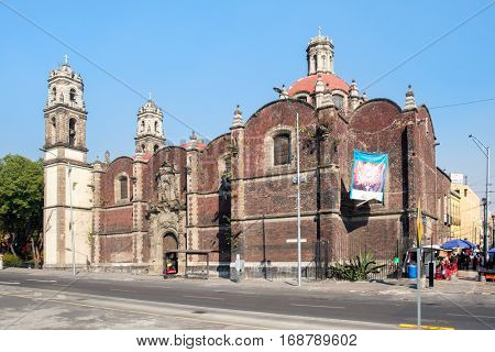 MEXICO CITY,MEXICO - DECEMBER 25,2016 : The Temple of San Hipolito, an important site of religious pilgrimage in Mexico City