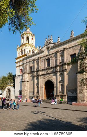 MEXICO CITY,MEXICO - DECEMBER 25,2016 : The Coyoacan Cathedral at the colonial Coyoacan neighborhood in Mexico City