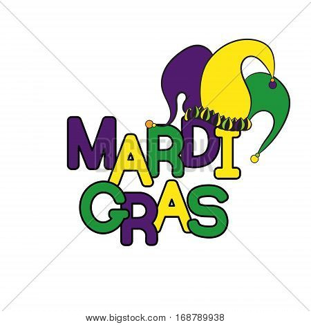 Mardi Gras or Shrove Tuesday. Colorful background with jester's hat. Vector illustration