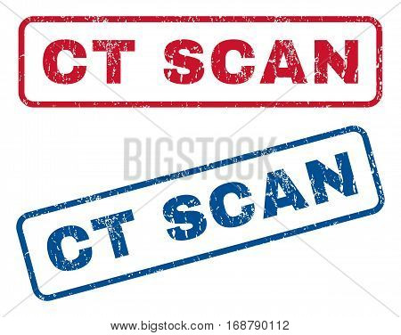 Ct Scan text rubber seal stamp watermarks. Vector style is blue and red ink caption inside rounded rectangular shape. Grunge design and dirty texture. Blue and red emblems.