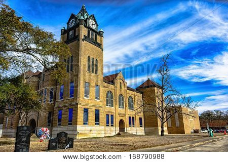 Prattville Alabama USA - January 28 2017: The original Autauga County Courthouse as viewed from the corner of the clock tower.