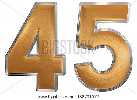 Numeral 45, Forty Five, Isolated On White Background, 3D Render