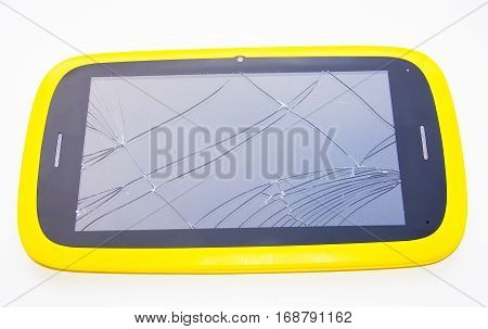 broken screen on the tablet broken plate repair of equipment broken screen