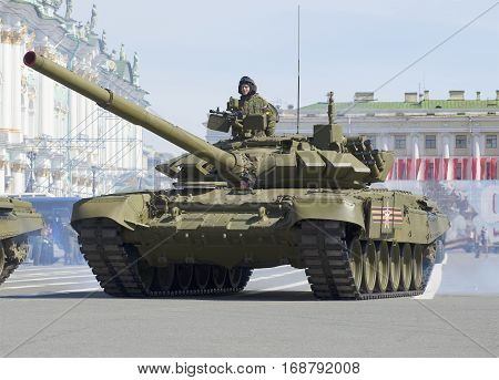 SAINT PETERSBURG, RUSSIA - MAY 05, 2015: T-90 tank on parade rehearsal in honor of Victory Day