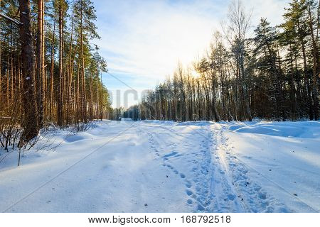 Countryside Winter Road At Sunset