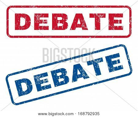 Debate text rubber seal stamp watermarks. Vector style is blue and red ink tag inside rounded rectangular banner. Grunge design and scratched texture. Blue and red stickers.