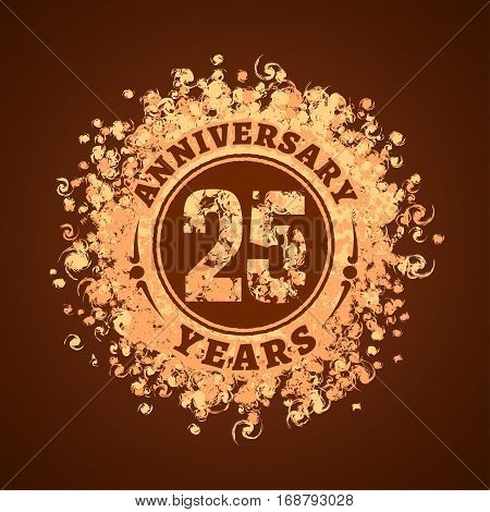 25 years anniversary vector icon logo. Graphic design element golden decoration for 25th anniversary card