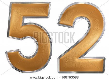 Numeral 52, Fifty Two, Isolated On White Background, 3D Render