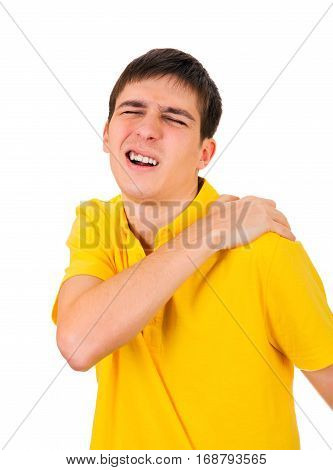 Young Man feel a Pain in the Shoulder Isolated on the White Background