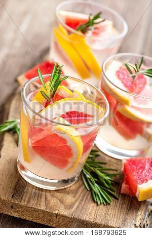Refreshing drink, grapefruit and rosemary cocktail, cold beverage