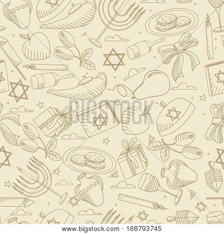 Hanukkah line art design vector illustration seamless retro. Separate objects. Hand drawn doodle design elements.