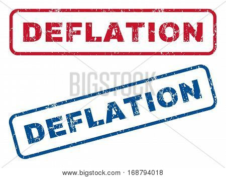 Deflation text rubber seal stamp watermarks. Vector style is blue and red ink caption inside rounded rectangular shape. Grunge design and dirty texture. Blue and red signs.