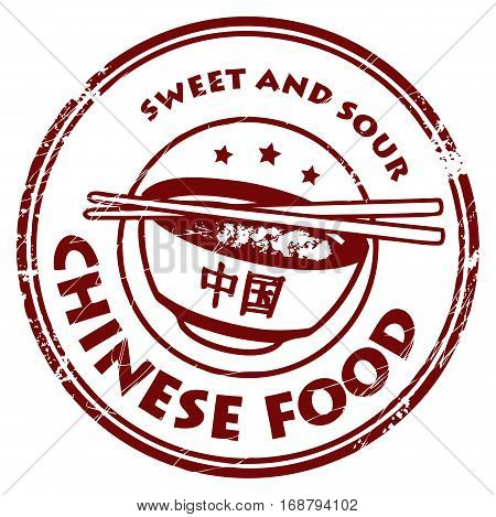 Grunge rubber stamp with text Chinese Food written inside