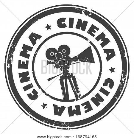 Abstract grunge stamp with movie camera and the word cinema inside
