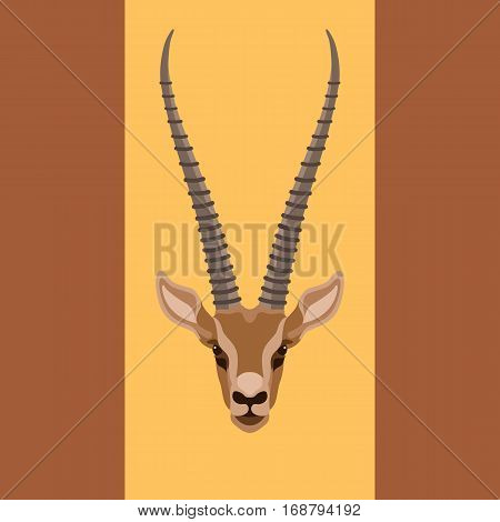 gazelles head face vector illustration style Flat