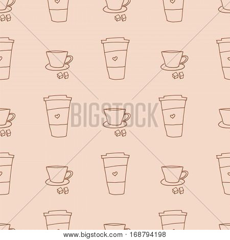 Coffee takeaway mug and cup seamless pattern. Stock vector illustration with hand drawn elements in vintage retro style.