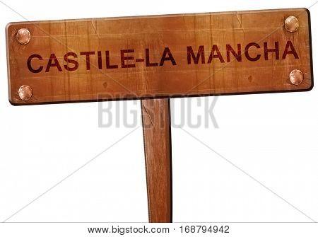Castile-la mancha road sign, 3D rendering