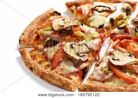 Pizza With Mushrooms And Pepperoni