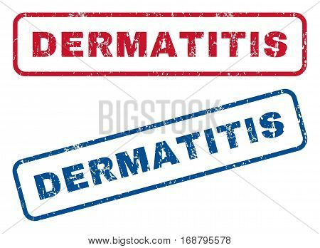 Dermatitis text rubber seal stamp watermarks. Vector style is blue and red ink caption inside rounded rectangular banner. Grunge design and dirty texture. Blue and red stickers.
