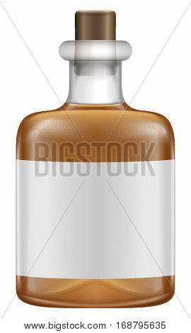 Realistic glass bottles with whiskey in white background. Vector illustration. With reflect of light and shadows. Empty label on bottle.