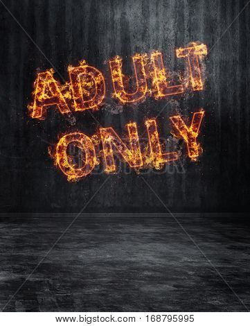 Fiery Adults Only Sign in All Capital Letters Hanging in Dark Empty Room with Textured Walls, Floor and Copy Space. 3d Rendering