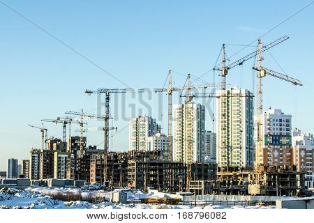 The construction of a new residential district of the city