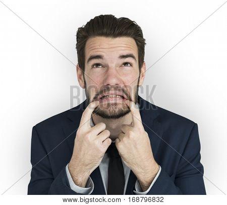 Business Attire Man Silly Sad Face