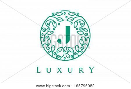 J Letter Logo Luxury. Green Beauty Cosmetics Logo Monogram.