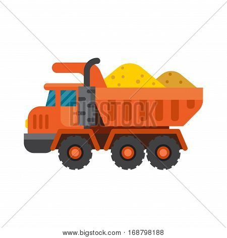 Delivery tipper transportation construction vehicle and road machine equipment. Dumper business truck cargo sand container vector illustration.