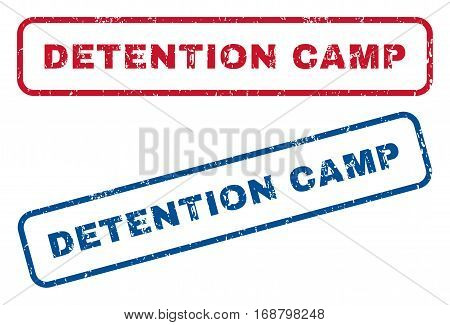 Detention Camp text rubber seal stamp watermarks. Vector style is blue and red ink caption inside rounded rectangular shape. Grunge design and dust texture. Blue and red stickers.