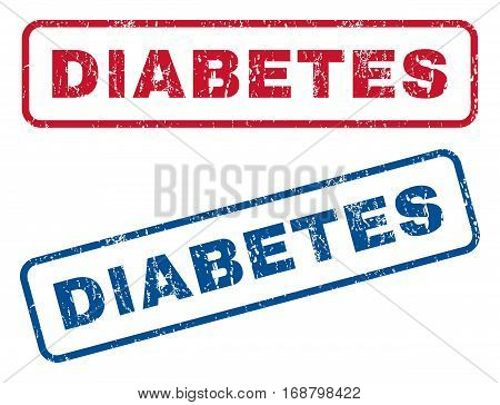 Diabetes text rubber seal stamp watermarks. Vector style is blue and red ink tag inside rounded rectangular banner. Grunge design and unclean texture. Blue and red emblems.