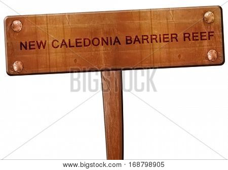 New caledonia barrier reef road sign, 3D rendering