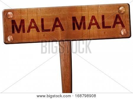 Mala mala road sign, 3D rendering