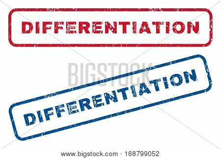 Differentiation text rubber seal stamp watermarks. Vector style is blue and red ink caption inside rounded rectangular shape. Grunge design and dust texture. Blue and red emblems.