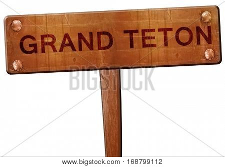 Grand teton road sign, 3D rendering