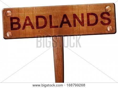 Badlands road sign, 3D rendering
