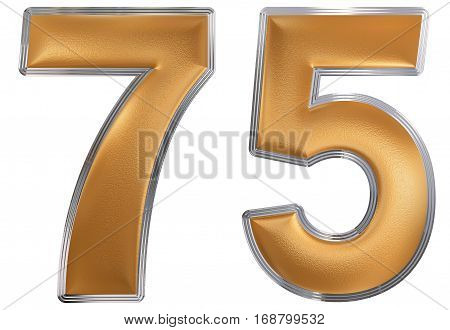 Numeral 75, Seventy Five, Isolated On White Background, 3D Render