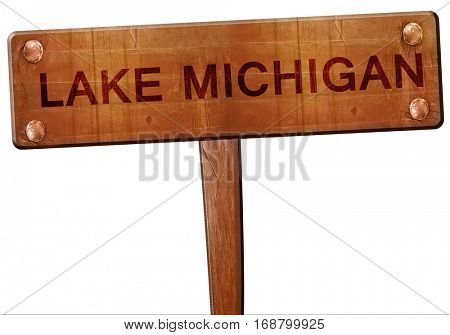 Lake michigan road sign, 3D rendering