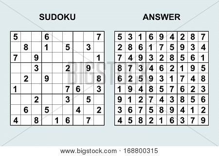 Vector sudoku 44. Puzzle game with numbers.